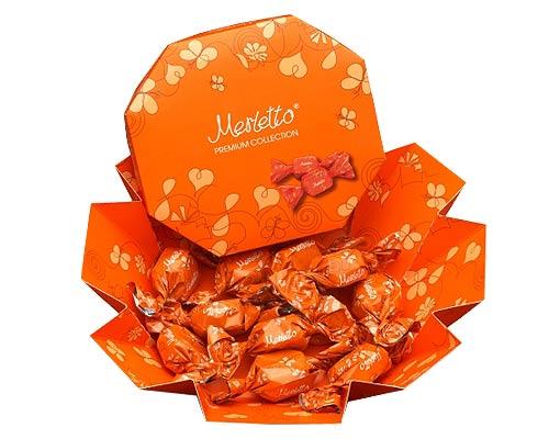 Мерлетто Конфеты  нуга, орех, карамель 150г (оранжевая коробка)