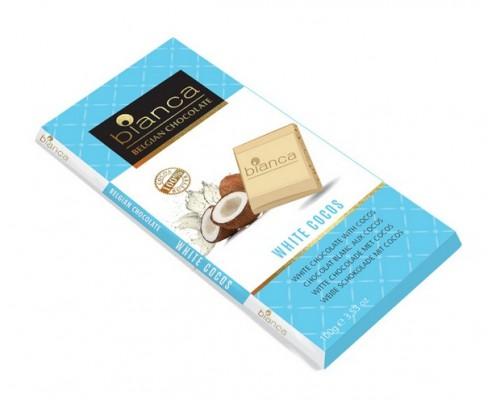 Bianca шоколад  белый с кокосом (white cocos) 100г