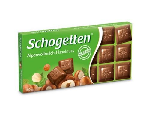 Шоколад Schogetten Альпийский молочный с фундуком 100гр