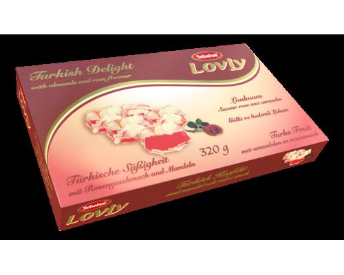 Себахат Рахат-лукум  со вкусом розы с миндалем (Lovly) 320г