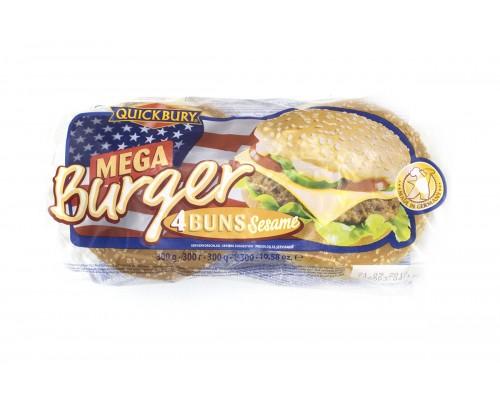 Квикбери Булочки для Мега бургера с кунжутом (4шт.х75г) 300г[1/7шт]