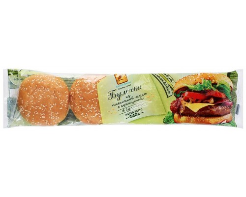 Булочка для Гамбургера  Ист Болт Рус из пшеничной муки с кунжутом (4шт по 60гр)  240гр[1/12шт]