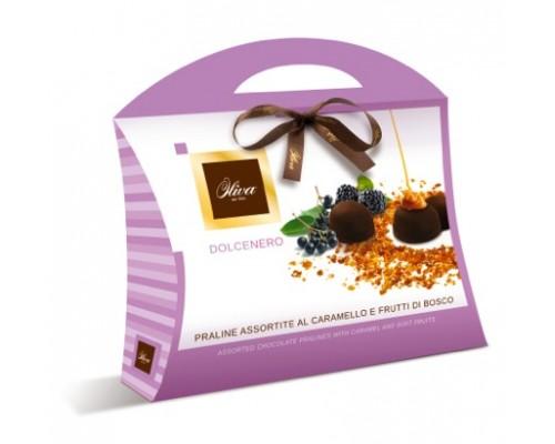 Шоколадные конфеты DULCIOLIVA  с начинкой пралине с карамелью и фруктами Dolcenero (сумочка) 150г