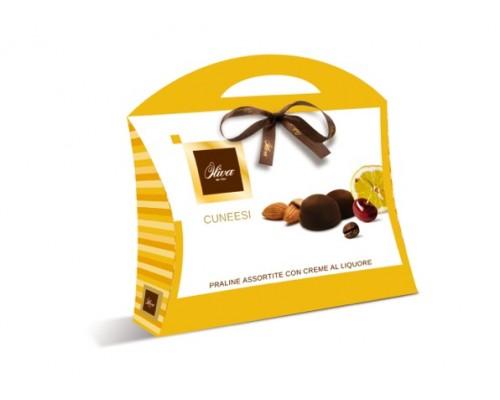 Шоколадные конфеты DULCIOLIVA  с начинкой пралине  c ликёр.наполнит Cuneesi (сумочка) 150г