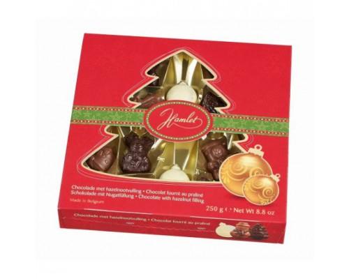 Шоколадные конфеты Hamlet Новогодняя Елка ассорти c начинкой из фундука 250 гр