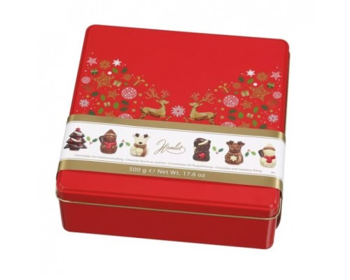 """Шоколад фигурный Hamlet """"Новогодние олени"""" ассорти красная коробка 500 гр"""