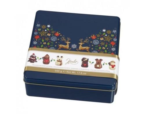 """Шоколад фигурный Hamlet """"Новогодние олени"""" ассорти синяя коробка 500 гр"""