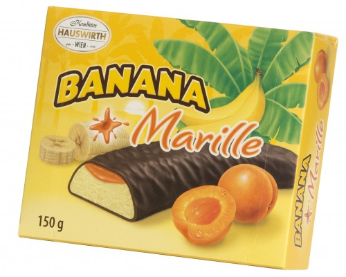 Банановое суфле Хаусверт с абрикосовым джемом в темном шоколаде 150гр