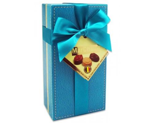Шоколадные конфеты Пралине MarChand сундучок  голубой 200гр