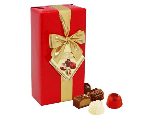 Шоколадные конфеты  Пралине  MarChand сундучок золото красное  200гр