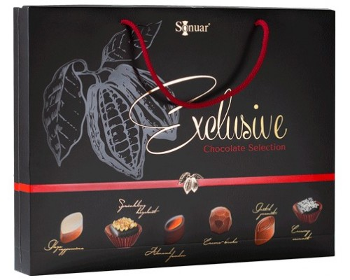 Sonuar Эксклюзив Набор шоколадных конфет ассорти в сумочке Черный 225гр