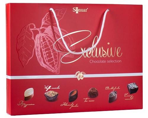 Sonuar Эксклюзив Набор шоколадных конфет ассорти в сумочке Красный 210гр