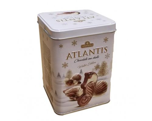 Шоколадные конфеты Atlantis Морские ракушки молочный и белый шоколад  жесть 200гр