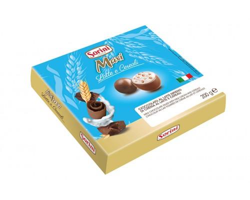 """Шоколадные конфеты Sorini  """"Макси Вайт Бокс"""" пралине из молочного шоколада с нач. из орех. крема и злаков 200гр"""