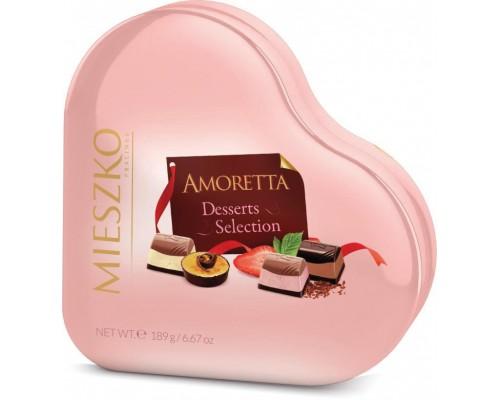 Шоколадные  конфеты Mieszko Аморетта  Дессерт селекшен Сердце ж/б 198 гр