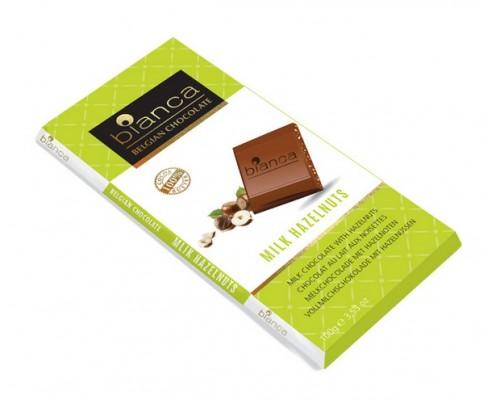 Bianca шоколад  молочный с фундуком (milk hazelnuts) 100г
