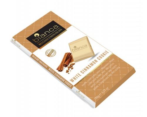 Bianca шоколад  белый с печеньем с корицей (white cinnamon cookie) 100г