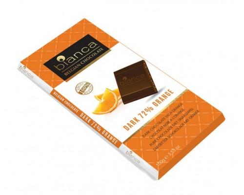 Bianca шоколад  темный  72% с апельсином (dark 72% orange) 100г
