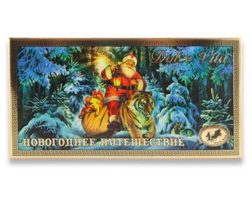 """Шоколад ручной работы Dolce Vita """"Новогоднее путешествие"""" Молочный 100 гр + магнит в подарок"""