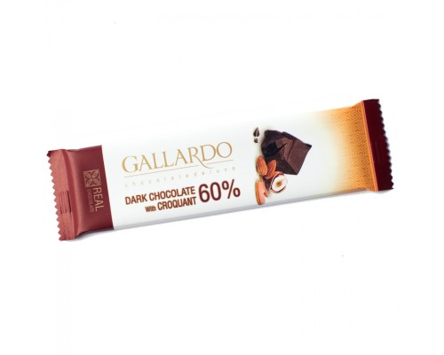 Шоколад горький Gallardo с грильяжем 60% 23гр[1/24шт]