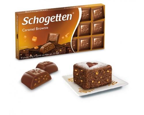 Шоколад Schogetten Молочный  с шоколадным кремом брауни и карамелью 100гр