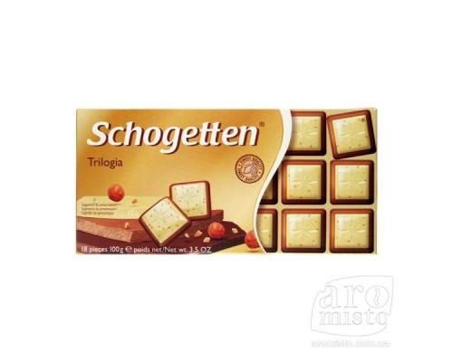 Шогеттен Трилогия белый, молочный шоколад с орехами 100гр