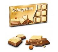 Шоколад Schogetten Трилогия белый, молочный  с орехами 100гр