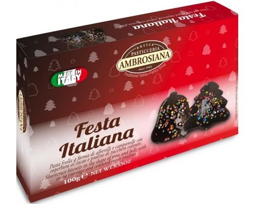 """Печенье Ambrosiana """"Festa Italiana""""  в какао глазури 100 гр"""