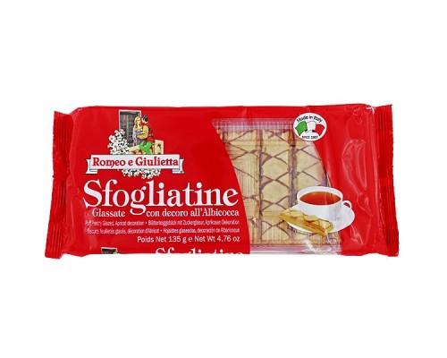 """Печенье  """"Sfogliatine"""" Romeo e Giulietta  Слоеное с абрикосовым джемом 135г"""