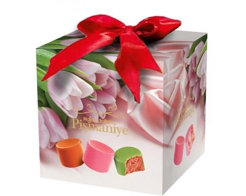 """Ассорти конфет из пишмание  """"Тюльпаны"""" со вкусом клубники, арбуза и апельсина во  фруктовой глазури 300 гр куб"""