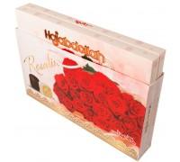 """Конфеты халва царская  в  белой и шок.глазури  """"Красные Розы""""   со вкусом ванили, кофе и имбиря  300гр (в подарочной сумочке)"""