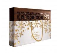 Конфеты из пишмание Hajabdollah ассорти в шоколадной глазури со вкусом ванили, капучино, корицы в новогодней сумочке 200 гр
