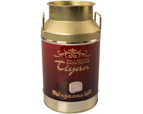 Конфеты из пашмалы  в шок. и молоч.глазури со вкусом ванили жесть Тиянь Бордовая 300гр.