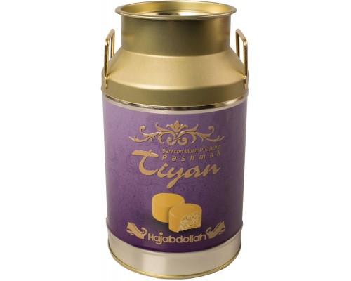 Конфеты из пашмалы в шафран.глазури со вкусом шафрана и фисташек  жесть Тиянь Сиреневая 300гр