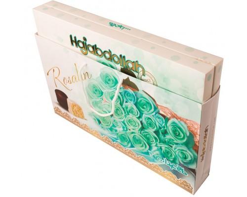 """Халва царская  в  белой и шок.глазури  """"Бирюзовые Розы""""  со вкусом ванили, кофе и имбиря  300гр (в подарочной сумочке)"""