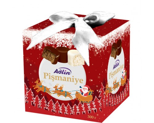 """Конфеты из пишмание Adlin """"Новогоднее ассорти"""" со вкусом кофе в шоколадной глазури и молочным вкусом в белой глазури 300гр куб"""