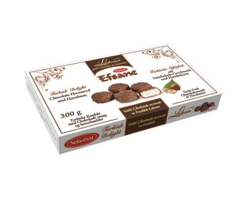 Себахат Рахат-лукум  в какао-молочной глазури с фундуком (Efsane) 300г