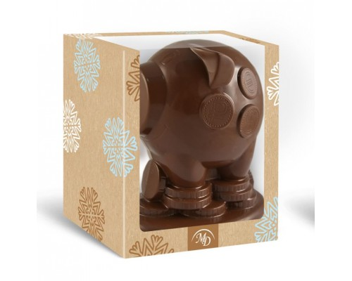Свинка-Копилка  шоколадная фигурка в подарочной коробке с окошком, 350гр[1/6шт]