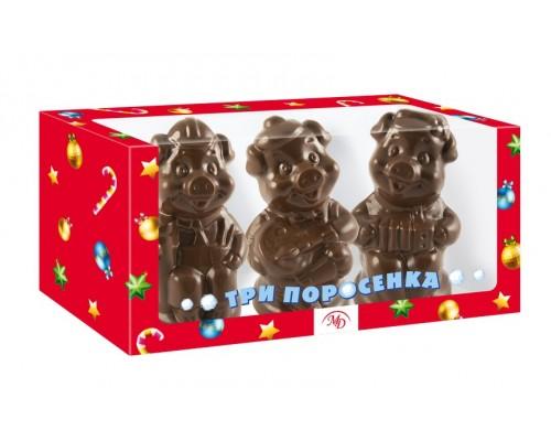 Три поросенка  Набор шоколадных фигурок в подарочной коробке с окошком, 300г[1/5шт]
