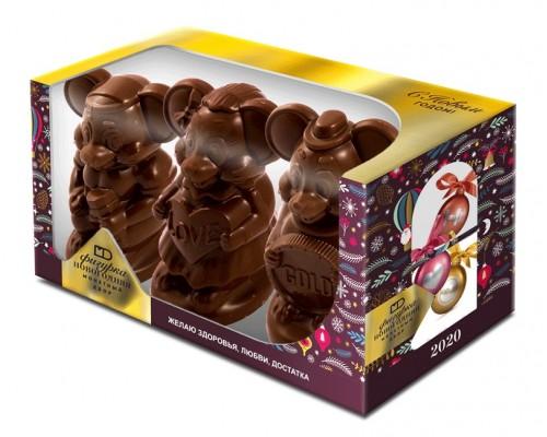 """Набор шоколадных фигурок """"Три желания""""   в подарочной коробке с окошком 300гр[1/5шт]"""