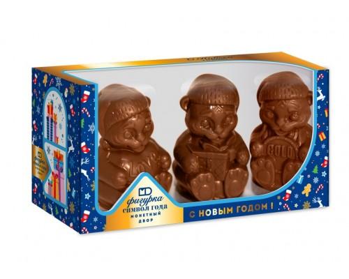 """Набор шоколадных фигурок """"Символ года Тигр""""   в подарочной коробке с окошком 300 гр[1/5шт]"""