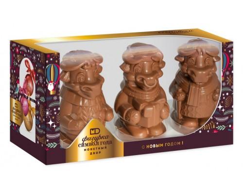 """Набор шоколадных фигурок """"Символ года""""   в подарочной коробке с окошком 300 гр[1/5шт]"""