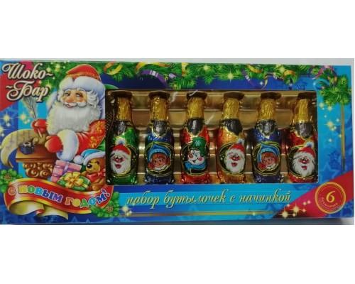 Набор шоколадных бутылочек Новогодний Шоко-Бар с начинкой 85гр