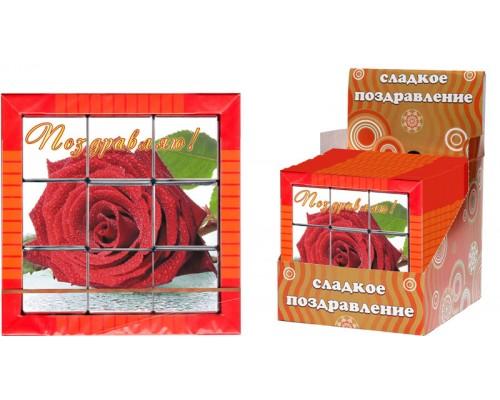 РОЗЫ Пазл 3х3 набор мини шоколадок  45гр