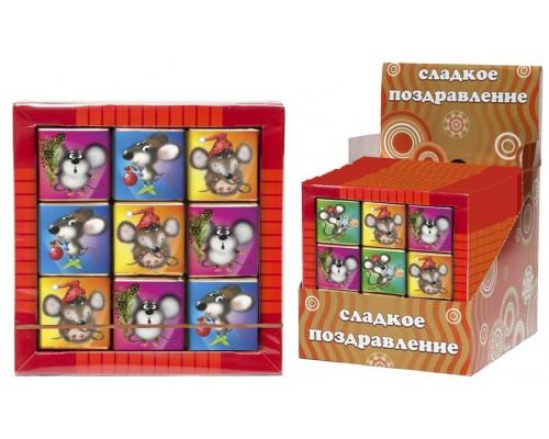 Набор мини шоколадок  ПУШИСТЫЙ МЫШОНОК  3х3  45гр