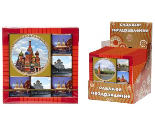 МОСКВА набор из медали и  мини шоколадок 50гр