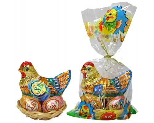 Пасхальный набор ( Курочка и 3 яйца) в корзинке 120гр[1/12шт]