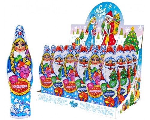 Дед Мороз и Снегурочка шоколадная фигурка с сюрпизом  60гр [1/24шт]