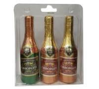Набор шоколадных фигурок Шампанское (3шт*40гр) в сумочке 120 гр (h-146мм)