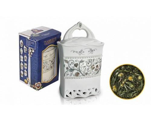 Тибриз Чай Земляника со сливками Керамическая чайница 100гр